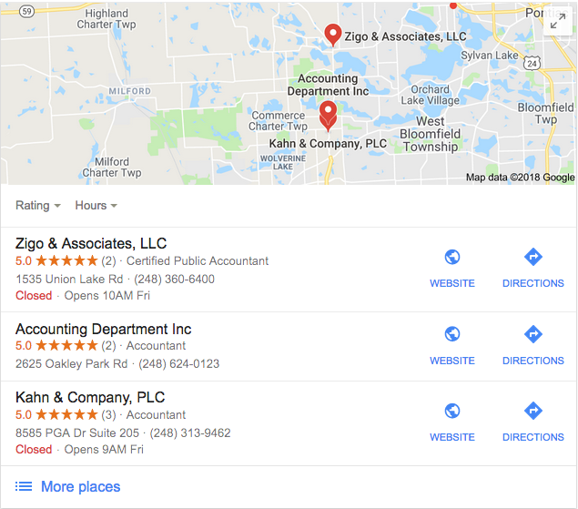 Local Search Results for Accounting Firm