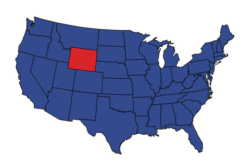 US Map With Wyoming in Red