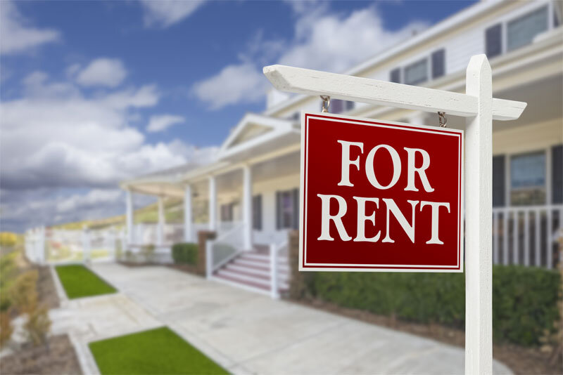 For Rent Sign in Front of Vacation Home
