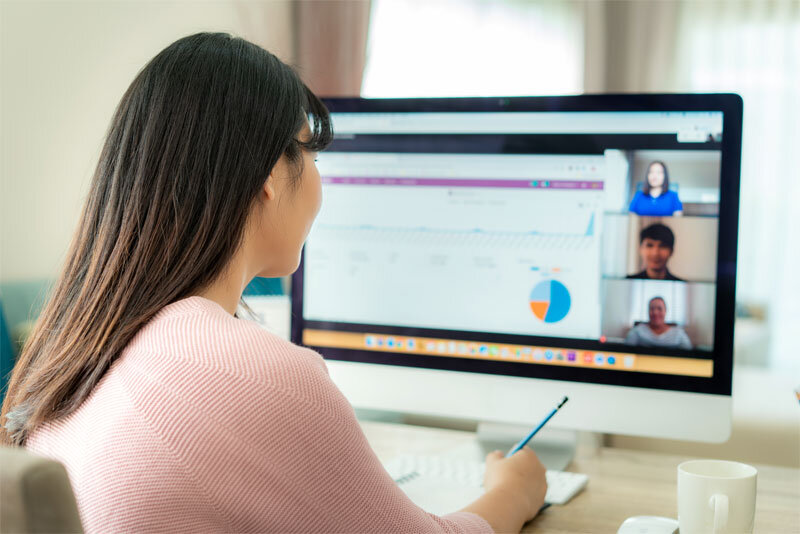 Woman Working Remotely on Zoom Call