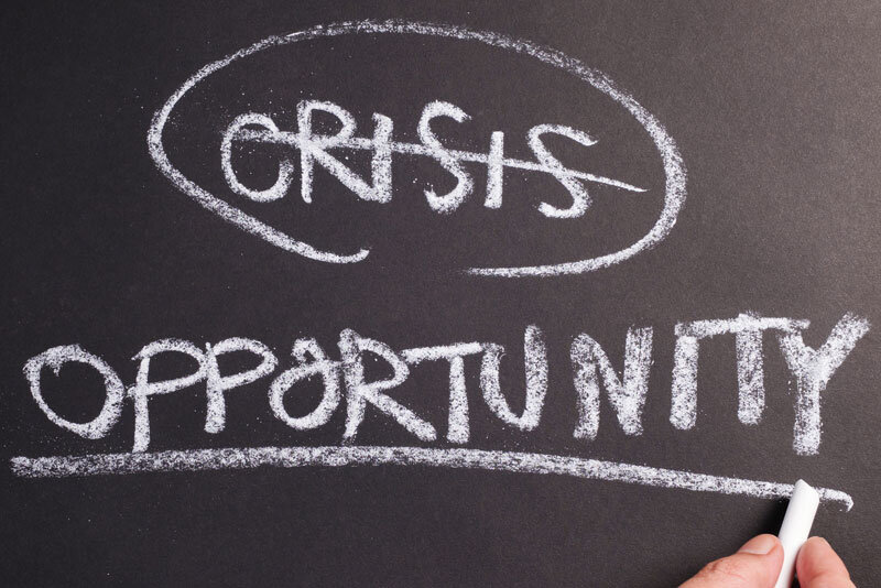 Crisis Opportunity Written on Blackboard