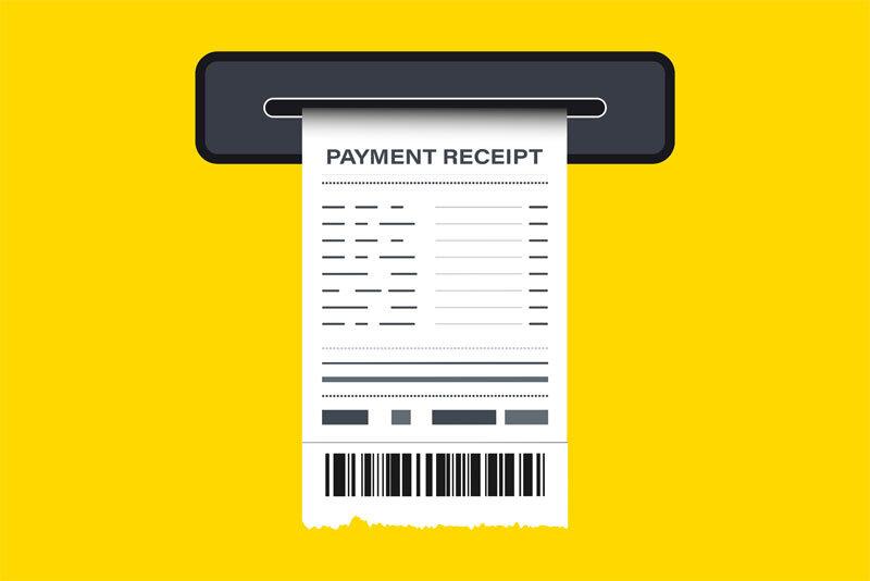 Sales Receipt in Printer